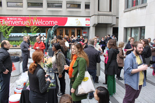 McGill students, faculty and staff take part in the May 28 launch of the smoke-free terrace. / Photo: Greg Houston
