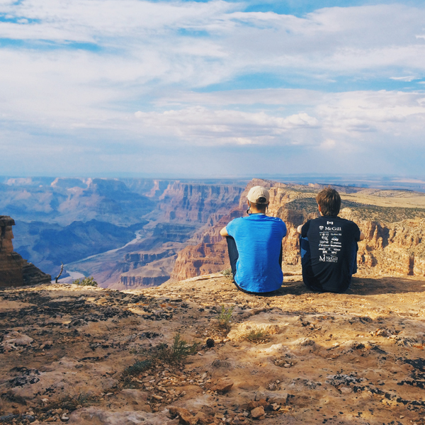Michael King and Nick Speal take in the Grand Canyon's spectacular view during their cross-continent trip to San Diego. / Photo courtesy of McGill Robotics.