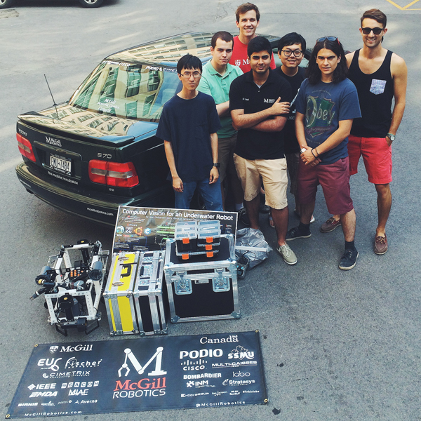 Asimov and supporting equipment about to be loaded into the 2000 Volvo and driven to San Diego. / Photo courtesy of McGill Robotics
