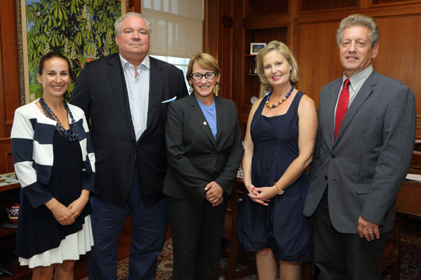 From left to right: Désirée McGraw, Jean-François Sauvé, Principal Suzanne Fortier, Mailly-Nesle Sauvé and Martin Kreiswirth at the signing on Sept. 2. / Photo: Owen Egan