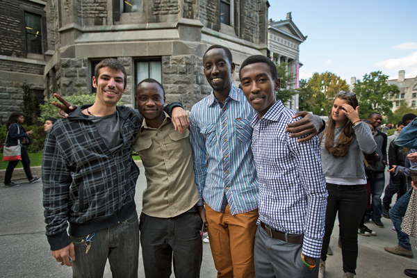 Jean-Louis Devaux, Jonathan Chirwa, Jean Kaganic, Innocent Nzayisenga outside Redpath Hall. / Photo: Leslie Schachter