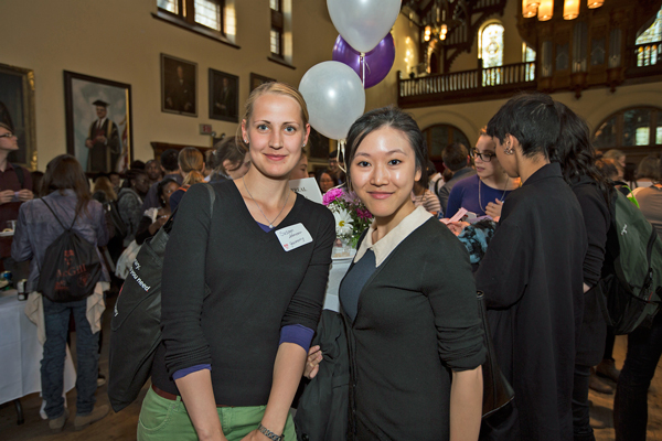 Susan Lehmann (left) and Kimberly Tong inside Redpath Hall. / Photo: Leslie Schachter