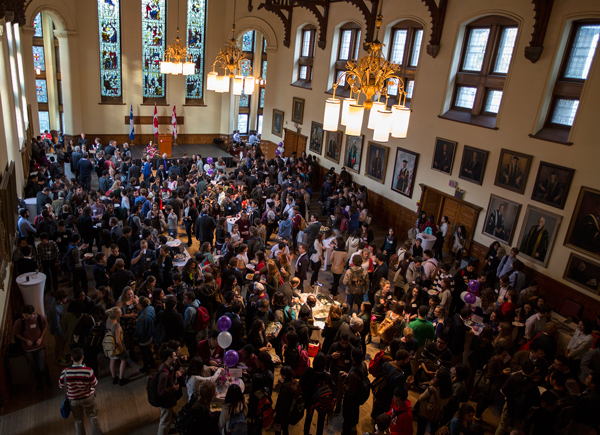 More than 430 students from 66 countries packed Redpath Hall for McGill's annual welcome reception for international students. / Photo: Leslie Schachter