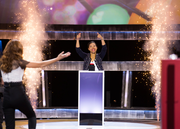 Victoria Leenders-Cheng celebrates making the finals of CBC's Canada's Smartest Person competition. / Photo courtesy of the CBC.