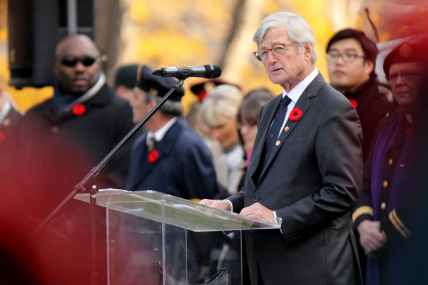 """In his address to the crowd at yesterday's Remembrance Day ceremony, Chancellor Michael A. Meighen said """"Our debt to them is enormous."""" / Photo: Owen Egan"""