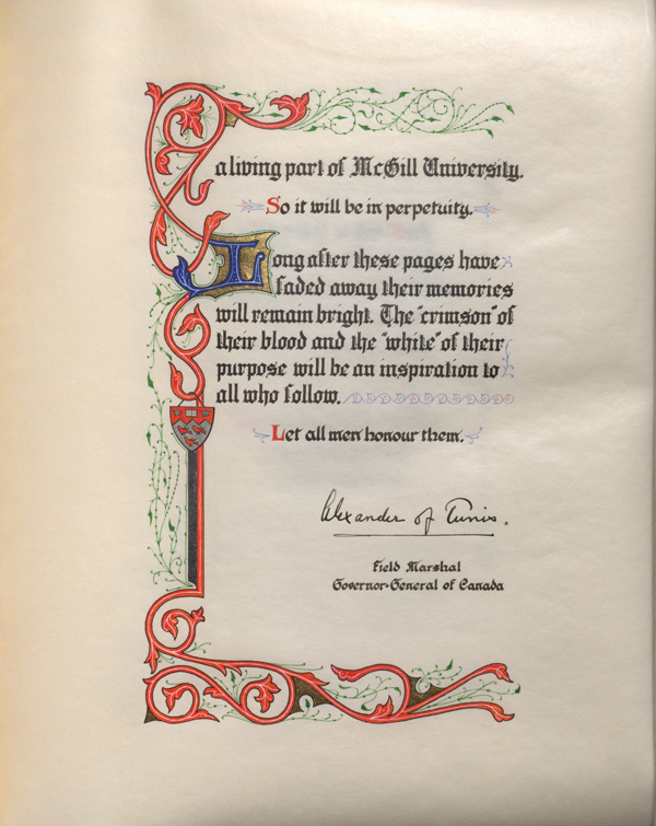 The Book of Remembrance is bound in a rich red leather cover. Each each page is made of parchment and is illuminated in vibrant hues of red, green or blue with either silver or gold highlights. / Photo courtesy of the McGill University Library and Archives.