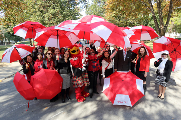 Part of the McGill contingent to Centraide's annual March of 1,000 Umbrellas walk through downtown Montreal on Oct. 2. / Photo: Owen Egan