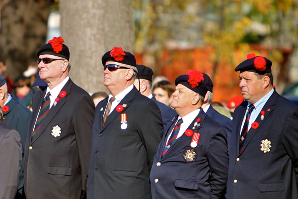 Some of the veterans at yesterday's ceremony on lower campus. / Photo: Neale McDevitt