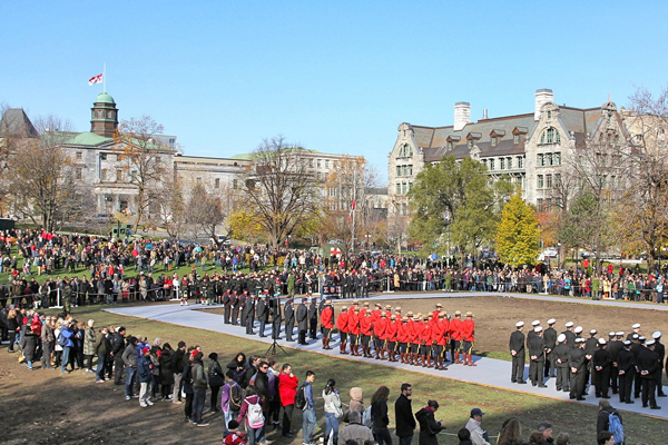 The Remembrance Day ceremony took place on the same field where the Provisional Battalion, made up of 300 McGill volunteers, drilled prior to fight in World War I. / Photo: Neale McDevitt