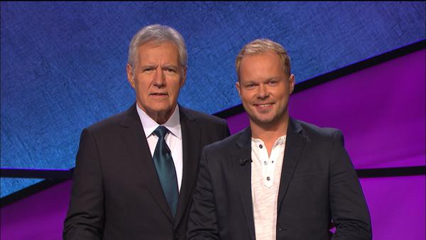 Mariusz Galczynski (left) and the iconic Alex Trebek, host of Jeopardy! / Courtesy of Jeopardy Productions, Inc.