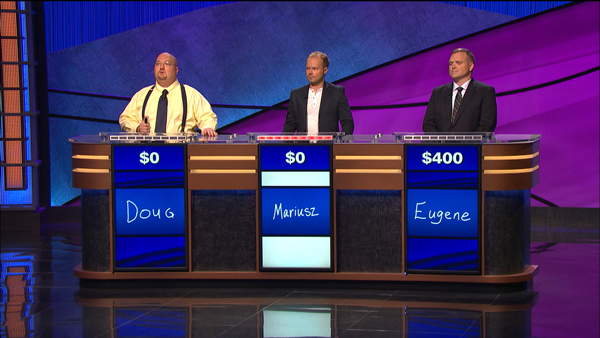 Mariusz Galczynski (centre) taking on the competition on Jeopardy! / Photo courtesy of Jeopardy Productions, Inc.
