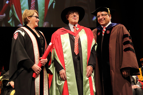 Principal Suzanne Fortier and Provost Anthony C. Masi (right), present Henry Mintzberg with the McGill University Lifetime Achievement Award for Leadership in Learning. Mintzberg is the John E. Cleghorn Distinguished Teaching and Research Chair in Management Studies. / Photo: Owen Egan