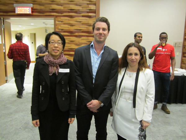 Left to right: Dr. Nancy Low, Dr. Hans Van Lancker and Sylvia Papazian were three of the MUHC finalists who impressed the audience with their innovations at the Hacking Health Challenge.
