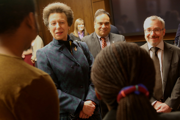 The Princess Royal, Princess Anne, meets with McGill students while Eli Turk, Director of International Relations (centre) and Phil Oxhorn, Phil Oxhorn, the founding Director of the Institute for the Study of International Development, look on. / Photo: Owen Egan.