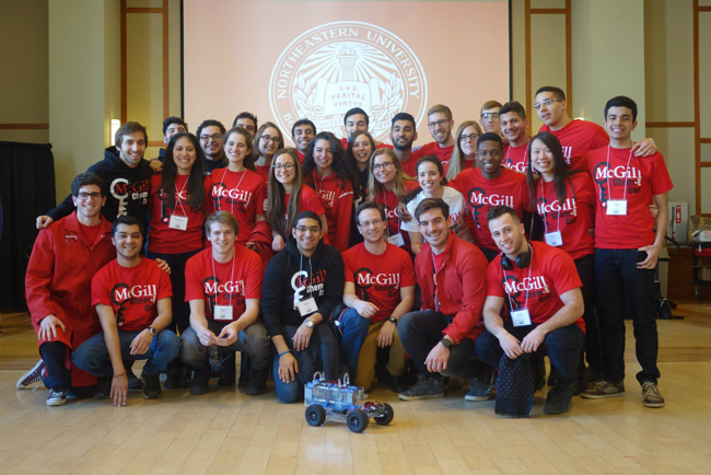 McGill's Chem-E Car team pose with their creation, Novona, following their second-place finish in the regional finals in Boston on March 8.