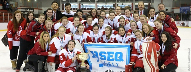 McGill Martlets win 2014-15 RSEQ women's hockey championship. / Photo: Derek Drummond