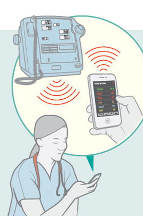 The team also designed hardware that enables nurses to connect to vital signs monitors via their smartphones and then upload a patient's information directly to the network. / Illustration: Clint Ford