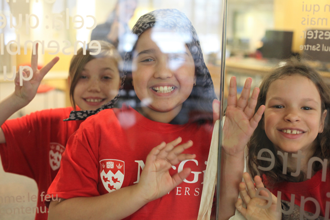 Three students from Verdun Elementary School explore the Cyberthèque. / Photo: Andrew Kittredge