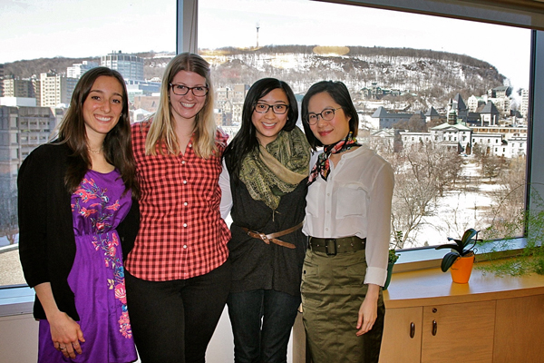 From left to right: Larissa Der, Cassandra Groot, Nadia Zucconi and professor Nicole Li helped organize a number of McGill events for World Voice Day. / Photo: Neale McDevitt