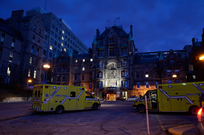 A fleet of ambulances stand ready to begin transferring patients from the Royal Vic to the Glen site on April 26. / Photo courtesy of the MUHC
