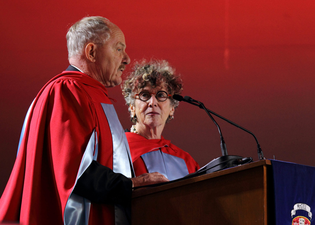 Patrick Lane and Lorna Crozier addressing the Class of 2015. / Photo: Owen Egan