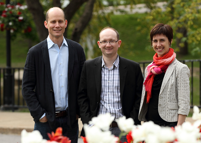 (From left to right): Andrew Piper, Paul François and Joelle Pineau are the recipients of the 2015 Principal's Prize for Outstanding Emerging Researchers. / Photo: Owen Egan