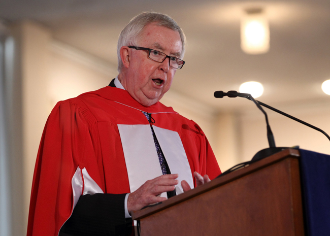 Joe Clark addresses the Class of 2015. / Photo:Owen Egan