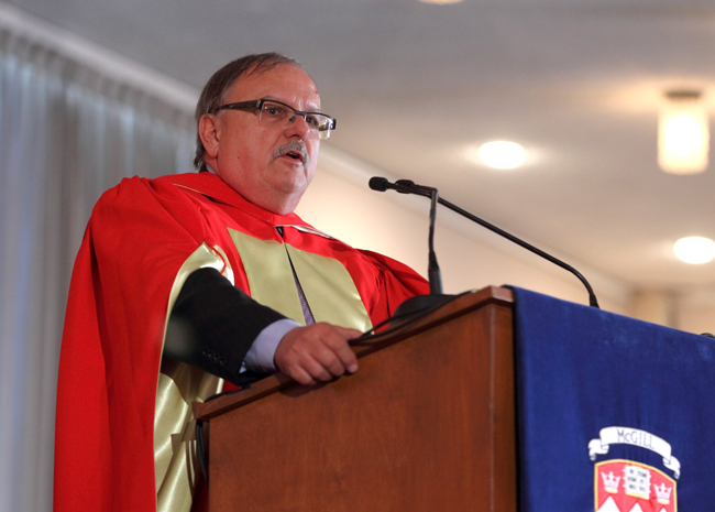 Dr. Jozef Vercruysse delivers his Convocation address. / Photo: Owen Egan