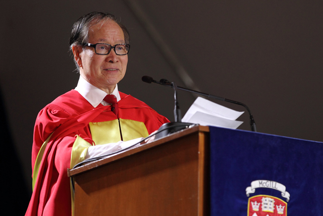 Arthur C. F. Lau delivers his Convocation address. / Photo: Owen Egan