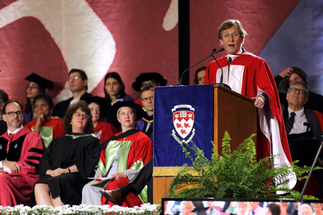 Martti Koskenniemi delivers his Convocation address. / Photo: Owen Egan