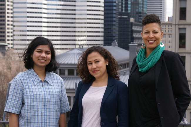 From left to right: Teyesha Mullick, Carmen Villa and Rachel Zellars of the Department of Integrated Studies in Education are all members of the SEDE team. / Photo: Jim Harris
