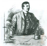 Illustration d'Ernest Rutherford dans son laboratoire