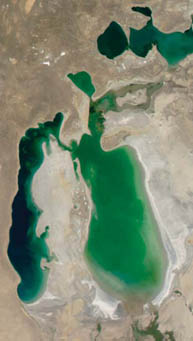 Satellite view shows the retreating shores of the Aral Sea, formerly one of the world's largest inland seas. This image was taken in 2003