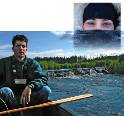Top: PhD student Jill Lambden braves -40°C temperatures as part of her work with human nutrition professor Harriet Kuhnlein. Above: Wildlife biologist Murray Humphries paddles past a beaver dam on the Whirlpool River in Manitoba as part of his research on species migration