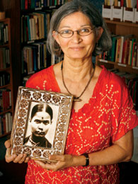 Shree Mulay proudly displays a photo of her grandmother, Saraswati Ranade.