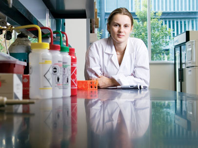 Post-doctoral fellow Magali Millecamps shows off the new laboratory space for pain research, part of AstraZeneca's $2.5-million investment in McGill. Millecamps studies complex regional pain syndrome (CRPS), a chronic condition triggered by injury to the bone or soft tissue, in the hope of improving treatment for this little-understood syndrome.