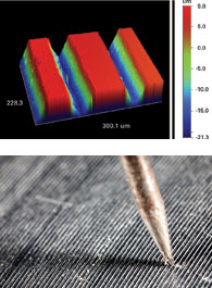 Researchers use a $300,000 microscope to scan an LP's grooves (above). The scan is then converted into a playable 3D computer image (top).