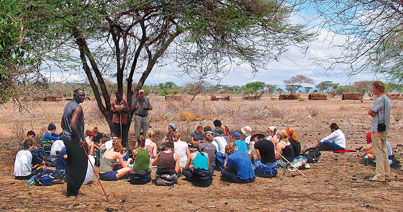 Professor John Galaty and McGill doctoral candidate Stephen Santamo Moiko give an open-air lecture on Masai culture to CFSIA students. Courtesy of John Galaty