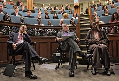 As chair of the October 2007 Global Conference on the Prevention of Genocide, Payam Akhavan helped bring together an unprecedented array of politicians, academics and people who know first-hand the horrors of genocide. On the final day of the conference, René Provost(left), director of McGill's Centre for Human Rights and Legal Pluralism, moderated a panel discussion on post-genocide nation rebuilding. Participants included Lt. General (ret.) Roméo Dallaire (middle), survivor and activist Esther Mujawayo (right) and—via videolink—some of Mujawayo's fellow survivors at the Kigali Memorial Centre in Rwanda. Credit: Owen Egan