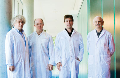 In their quest to identify new genes associated with type 2 diabetes, Dr. Rob Sladek (far left) and Dr. Constantin Polychronakos (far right) coordinated a team effort that included Johan Rung (second from left), a bioinformatician who did much of the statistical analysis of the genomic data, and Alexandre Montpetit, Assistant Scientific Director of the McGill University and Génome Québec Innovation Centre. Credit: Claudio Calligaris