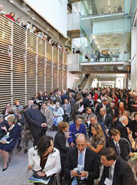 A large crowd gathered in the Bellini Building atrium to celebrate the opening of the McGill University Life Sciences Complex. Credit: Owen Egan