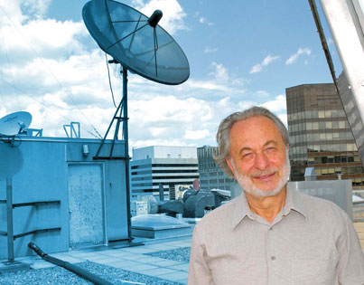 From high atop Burnside Hall on McGill's downtown campus, atmospheric studies researcher Isztar Zawadzki collects weather data that plays a crucial role in everything from municipal storm sewer management to air travel safety. <em>Credit: Rachel Granofsky</em>