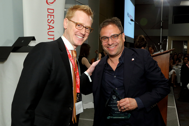 """McGill changed my life; it made me a citizen of the world and a proud Canadian,"" said Bertrand Cesvet, MBA'88, upon accepting his MBA Impact Award. / Photo: Owen Egan"