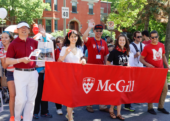 David Eidelman (black McGill cap), Dean of Medicine and Vice-Principal (Health Affairs) led a McGill contingent of more than 100 in Saturday's