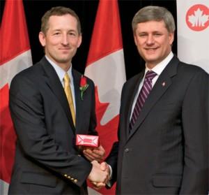 Andrew Hendry with Prime Minister Stephen Harper