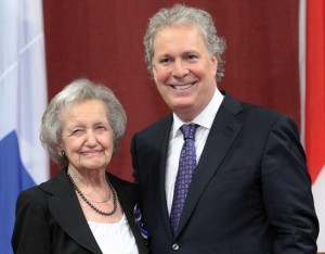 Quebec Premier Jean Charest inducts McGill neuroscientist Brenda Milner into the Ordre du Québec