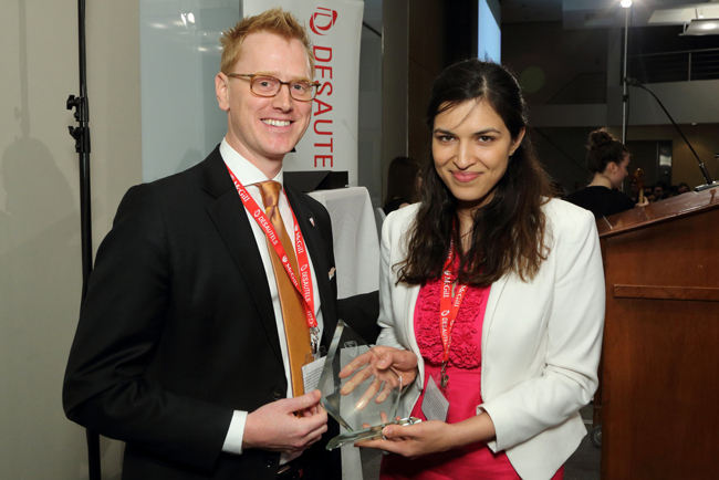 Shobhita Soor (MBA/BCL/LLB'15), accepted the MBA Impact Maker award on behalf of the 2013 Hult Prize team. / Photo: Owen Egan