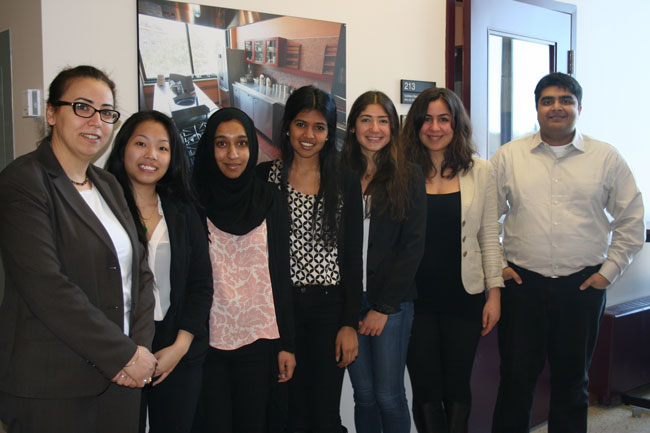 Members of the Developing Solutions for Developing Countries team (from left): Prof. Salwa Karboune, Lisa lam, Homaeiraa Waheed, Niruya Kumarasamy, Katherine Banon, Loloah Chamoun and Muhammad Malick.