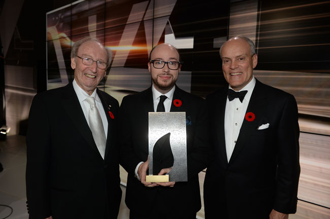 2014 Scotiabank Giller Prize winner, Sean Michaels (centre), with the Prize's founder, Jack Rabinovitch (left) and Scotiabank's President and CEO, Brian Porter. / Photo courtesy of the Scotiabank Giller Prize