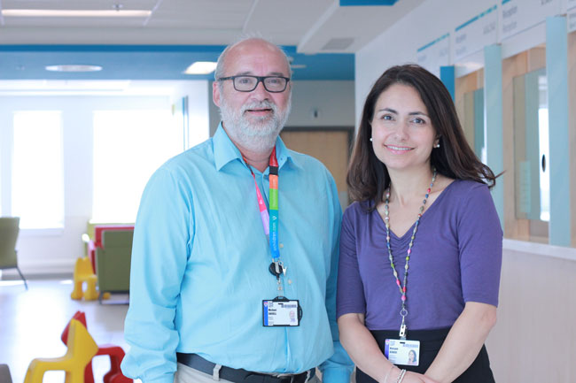 Dr. Michael Shevell (study co-author) and Dr. Maryam Oskoui (lead study author) both researchers at the RI-MUHC from the Child Health and Human Development Program. / Photo courtesy of MUHC Public Affairs